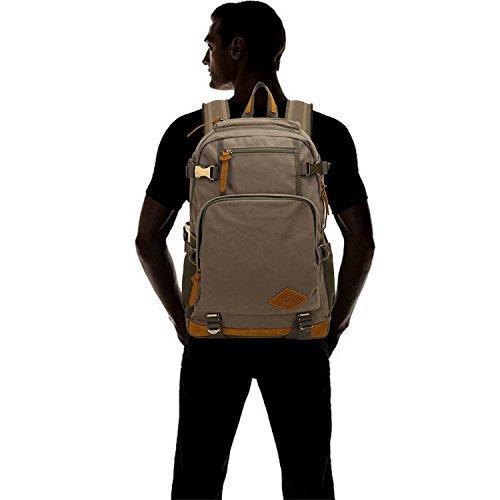 FANDARE Clásico Vintage al aire libre viajes de senderismo Mochila Escuela Colegialidad Daypacks portátil bolsa de lona Ligero Durable plegable plegable multifunción mujeres y hombres Gris Gris