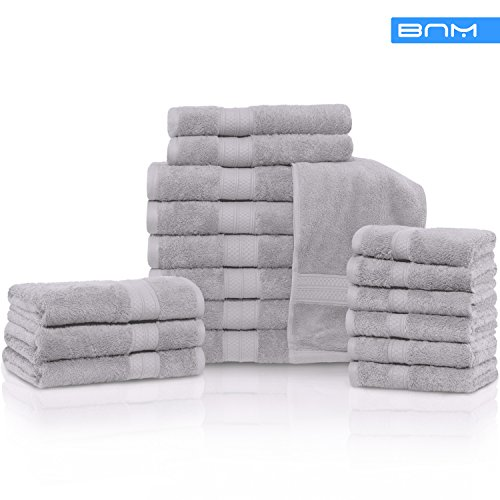 Rayon from Bamboo and Cotton, 18-Piece Bathroom Towel Set, Highly Absorbent, Super Velvety Soft, Dobby Checkered Dual Border, Chrome by Blue Nile Mills