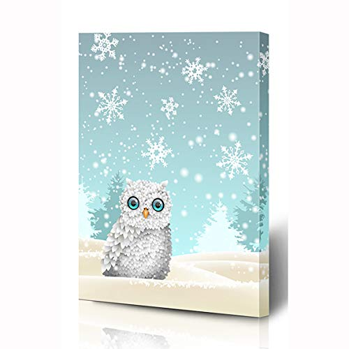 (Ahawoso Canvas Prints Wall Art 8x12 Inches Weather Blue Snowy Christmas Cute White Owl Sitting Wild Wildlife Holidays Bird Celebrate Cold Cool Wooden Frame Printing Home Living Room Office)