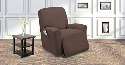 Sapphire Home Recliner Chair SlipCover Shield, Form-fit Stretch, Wrinkle Free, Protector Cover for Recliner, Remote Pocket, Polyester Spandex Fabric, Checked Pattern Non-Slip, Coffee Brown Chocolate