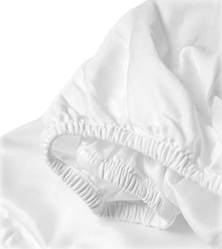 Whisper Organics Organic Cotton Crib Sheet GOTS Certified, 300 Thread Count, Sateen, Luxury Super Soft Best Price (52x28x9, White)