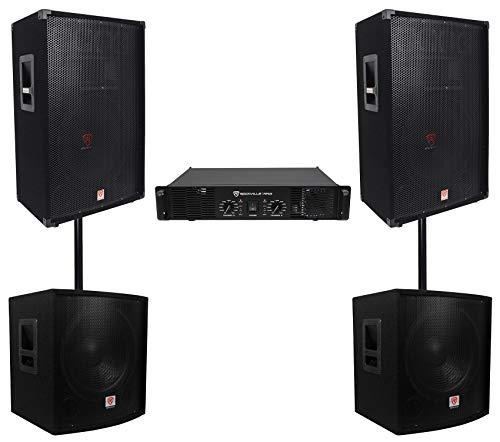 ((2) Rockville RSG15 15 3000w DJ/Pro Audio PA Speaker+Amp+(2) 15