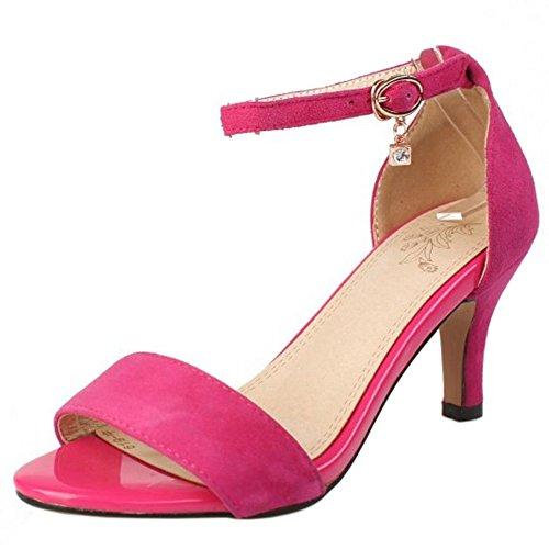 RAZAMAZA Mujer Moda Correa de tobillo Mini Tacon Sandalias Punta Abierta Tacon medio delgado Zapatos Rose Rojo