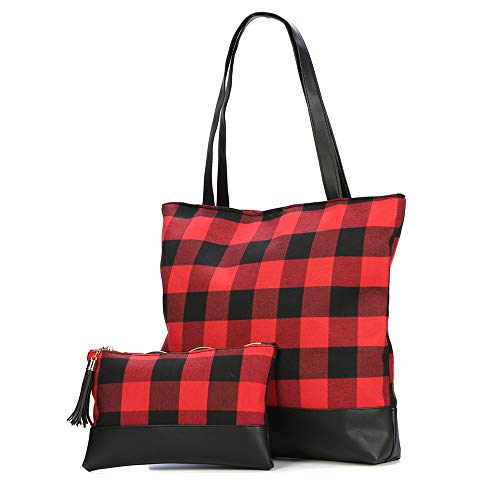 Christmas Buffalo Plaid Tote Bag Womens Shoulder Bag & Buffalo Check Cosmetic Bag Set