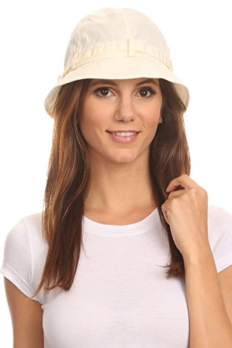 LL Cream Womens Cloche Rain Hat Packable Foldable Water Resistant Lightweight