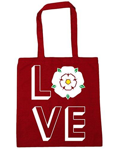 HippoWarehouse Love Yorkshire Einkaufstasche Fitnessstudio Strandtasche 42cm x38cm, 10 liter - Klassisch Rot, One size