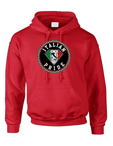 Allntrends Unisex Hoodie Sweatshirt Italian Pride (XL, Red)
