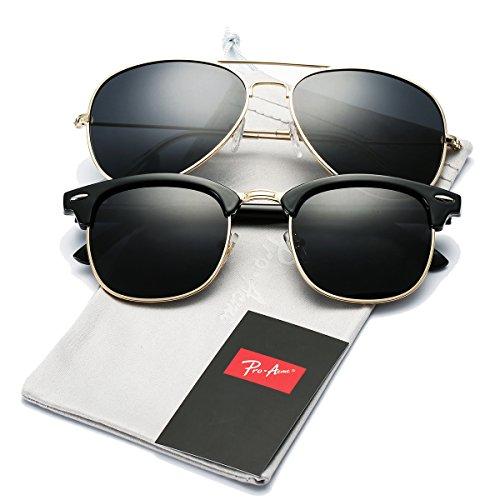 Pro Acme Semi Rimless Polarized Sunglasses for Men Women Classic Brand Designer (Semi Rimless + ()