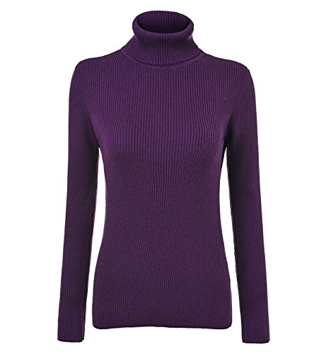 Fengtre Turtleneck Pullover Sweater, Women's Cashmere Stretchy Knit Top,Dark Purple L -