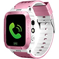ele ELEOPTION Kids Smart Watches With GPS Tracker Phone Call for Boys Girls, Digital Wrist Watch, Sport Smart Watch, Touch Screen Cellphone Camera Anti-Lost SOS Learning Toy for Kids Gift (Pink&White)
