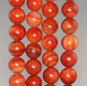 10MM Orange Zebra Jasper Gemstone Round Loose Beads 16