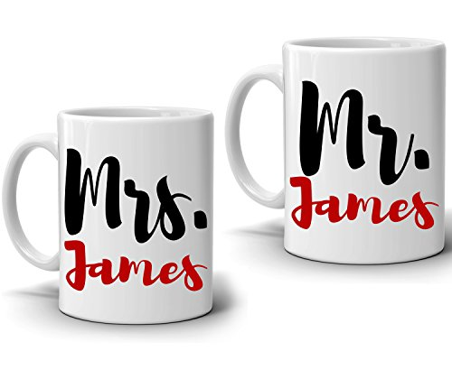 Personalized Mr and Mrs Couples Coffee Mug , Romantic Gift for Wedding Anniversary and Valentines Day , Set of 2 Cups, Printed on Both Sides