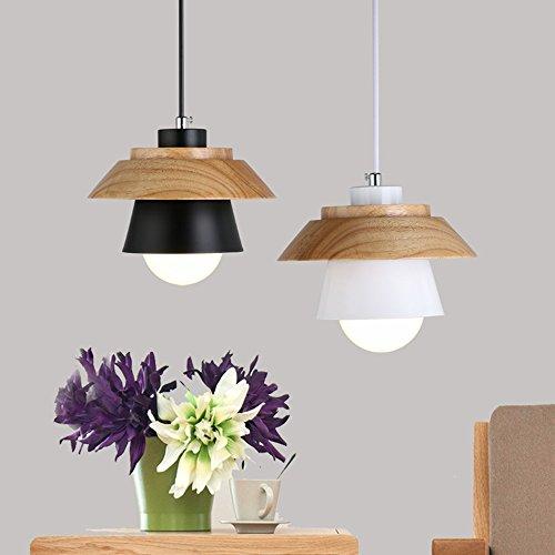 Modern Pendant Light Art Deco Lighting Fixture Loft Pendant Lamp, 1-Light Ceiling Light Adjustable Hanging Height, Ceiling Mounted, Wooden Decoration Style (White) by Chrasy (Image #4)