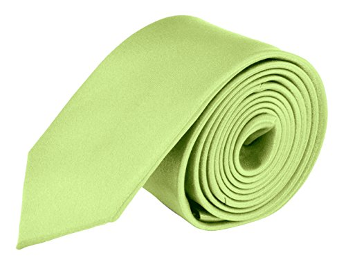 MDR Mens Ties Solid Satin Tie Pure Solid Color Necktie - Lime Green 2.75 inch ()
