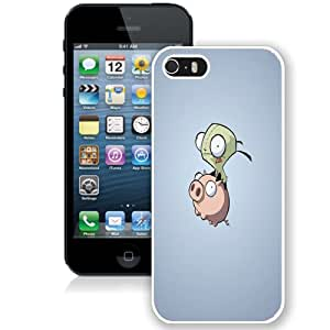 NEW Fashion Custom Designed Cover Case For iPhone 5S Pig And Alien White Phone Case
