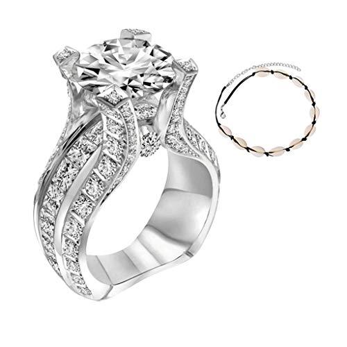[해외]Diamond Ring for Women Ladies Micro Inlaid Zircon CreativeShell Bracelet 2Pcs Valentine`s Day Jewelry Gift / Diamond Ring for Women Ladies Micro Inlaid Zircon CreativeShell Bracelet 2Pcs Valentine`s Day Jewelry Gift