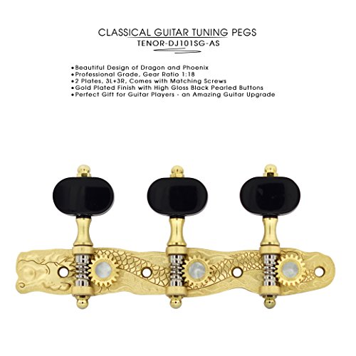 DJ101SG-AS TENOR Classical Guitar Tuners ''Dragon and Phoenix'' Professional Tuning Key Pegs/Machine Heads for Classical or Flamenco Guitar. by Tenor