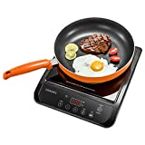 OMORC 1800Q, 1800W Portable Electric Induction Cooker, Easy to Use, 5.25 X 13.75 X 18.75 inches, Black