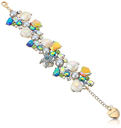 Betsey Johnson Women's Crabby Couture Pearl and Stone Seashell Cluster Charm Bracelet, Multi, One Size