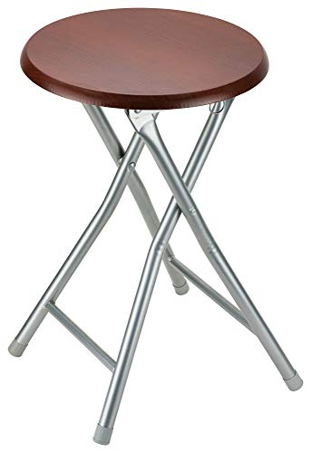 (DecorRack Wooden Seat Folding Stool, 18 inch Portable Lightweight Foldable Chair, Collapsible Sitting Stool with Wooden Seating Top, Cherry (1 Pack))