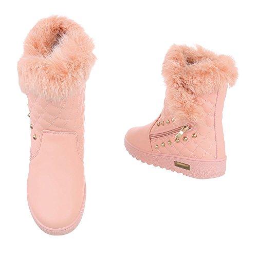 Flache Design Damen Stiefeletten für klassische Ital Pink bei rSrqAwx