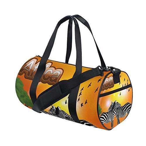 OSBLI Gym Bag Africa Zebra Sunset Sports Travel Lightweight Canvas Bags Duffel Bag for Men and Women by OSBLI
