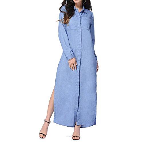 Tasche Da donne Colore Cielo Vestito Bavero Puro Tagliato Blu Coolred Partito Maxi Spiaggia zZZSw5qc