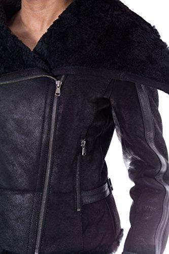 Chaqueta de piel de oveja real con estilo grande para mujer con cierre de cremallera lateral