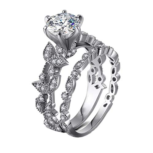 Haluoo Leaf Rings Design for Women Marquise Round Cubic Zirconia Engagement Wedding Band Sterling Silver Platinum Plated Halo Eternity Ring Bridal Sets Jewelry Size 5-10 (10, Sliver)