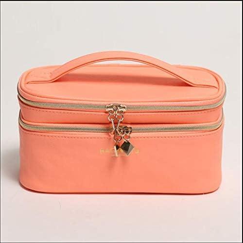 化粧品収納ボックス 家庭用ポータブル化粧品収納ボックス革二重層分類化粧品袋化粧ブラシスキンケア製品ハンドバッグ JSSFQK (Color : Orange)