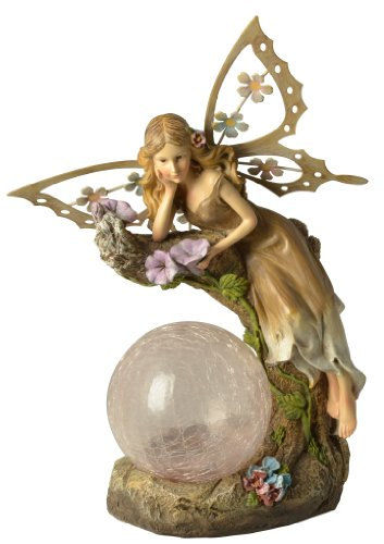 Moonrays 91352 Solar Powered Garden Fairy with Glowing Globe