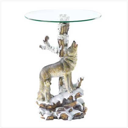 Wolf Sculpture Base Accent Side Table With Glass Top