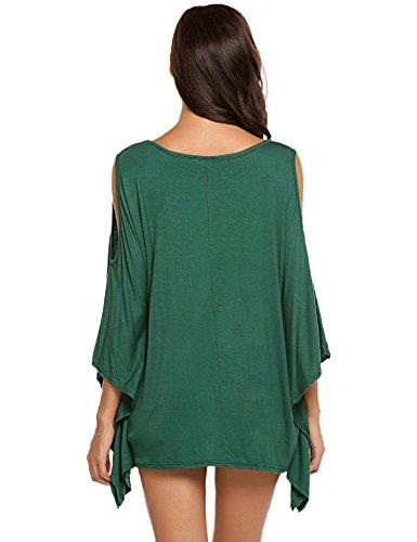 Été Al'ofa Épaule Froides De Blouses Des Femmes Des V Cou Batwing Manches Courtes T-shirt Vert
