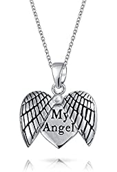 Bling Jewelry Open My Angel Wing Heart Pendant 925 Sterling Silver Necklace 18in Free Engraving