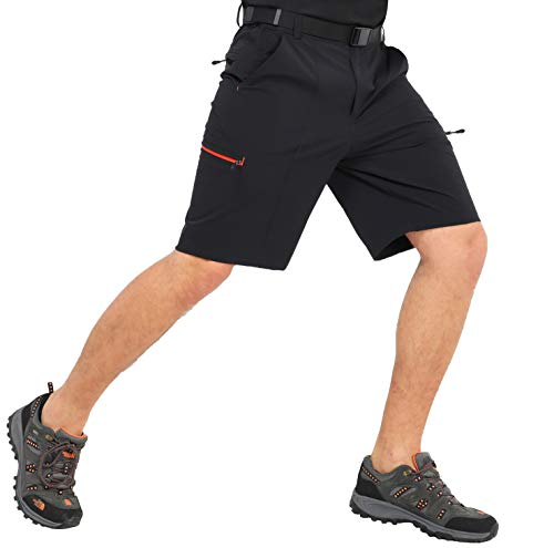 MIER Men's Hiking Cargo Shorts Quick Dry Outdoor Nylon Short with 6 Pockets, Water Resistant, 10 Inches Inseam, Black, 38