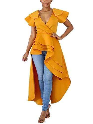 ThusFar Women's Sexy Wrap Deep V Neck Cap Sleeve Layer Peplum Ruffle High Low Tops Blouse Shirt Homecoming Party Dress Yellow M