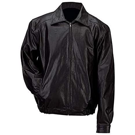 Gianni Collani Men's Solid Genuine Leather Bomber-Style Jacket 3X Black