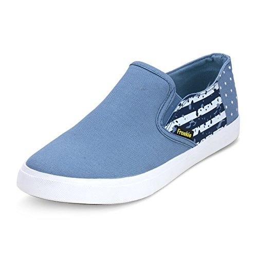 Men Casual Blue Canvas Shoes for Daily Wear by Froskie
