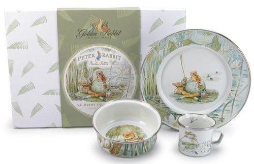 3-Piece Beatrix Potter Enamelware Dish Set, in Jeremy Fisher