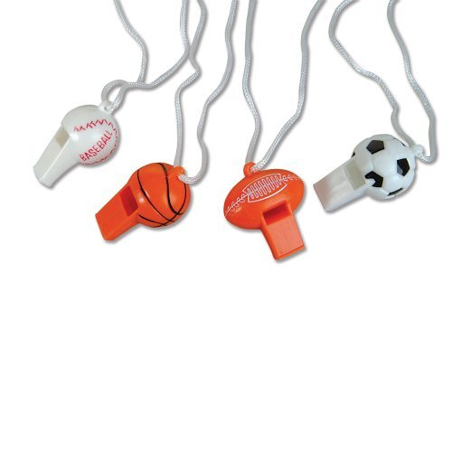 Sport Ball Whistle Necklaces - 12 per unit (Small Whistle Necklace compare prices)