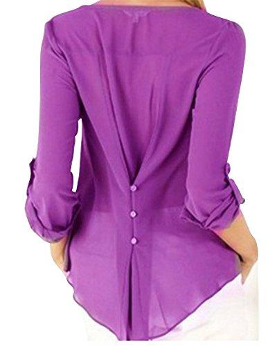 Mujeres Ocasionales Manga Larga Boton de la Gasa Cuello en V Dobladillo Irregular de Decoracion Camisas Tapas Púrpura