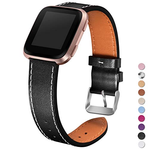 Maledan Leather Bands for Fitbit Versa, Black