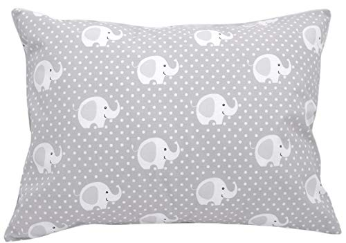 Kids Toddler Pillowcase 13x18 by Comfy Turtles, 100% Cotton, Soft Hypoallergenic Cover for Wonderful Sleep and Dreams, Design for Boys and Girls (Grey Elephants) ()