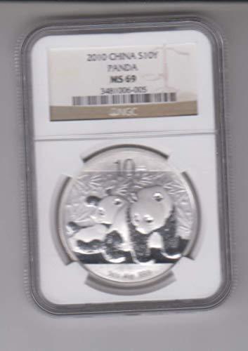 2010 CN China Panda 1 Ounce Silver Coin Certified 10 YEN MS69 NGC