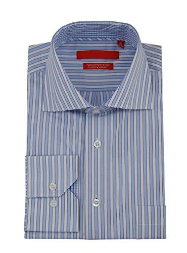 (DTI GV Executive Mens Striped Dress Shirt Cotton Spread Collar Barrel Cuff (19.5