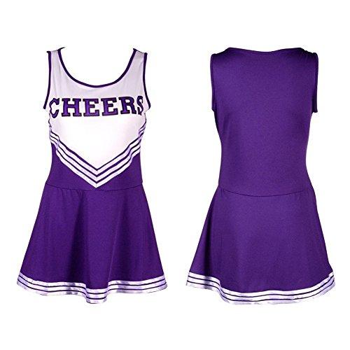 Frauen High School Musical Cosplay Cheerleading Kostüm Mädchen Halloween Kostüm Klassische Cheerleader Athletic Sport Uniform Mini Rock Karneval Kostüm Outfit mit Pompons Lila