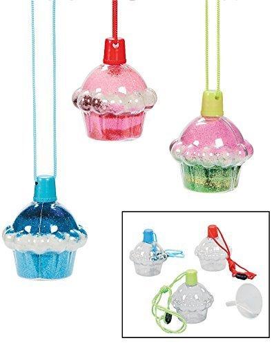 Cupcake Sand Art Bottle Necklaces 2 1//4 X 3 Plastic. 12 Pack