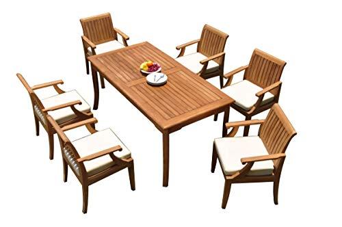 TeakStation 6 Seater Grade-A Teak Wood 7 Pc Dining Set: 71