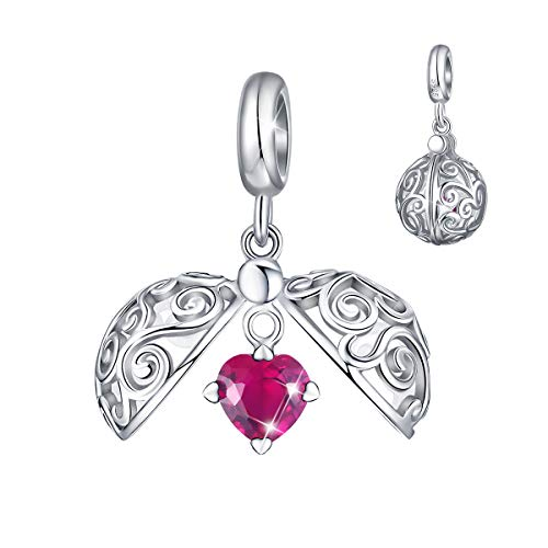 - FOREVER QUEEN Secret Fruit Box Cage Charm fit Pandora Charms Bracelet Choker Pendant Necklace, 925 Sterling Silver Open & Close Egg Red Heart Dangle Charm with Cubic Zirconia for Women Girls