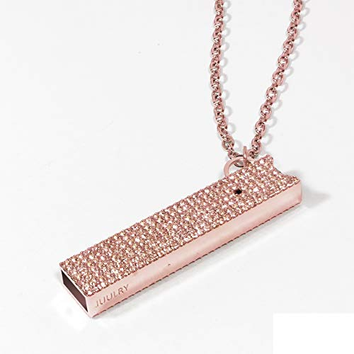 JUUL Pave case with Necklace and Key Chain Attachment (Rose Gold Light Rose Stone)